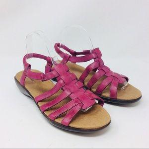 Clarks Sandals Fushia Leather Ankle Strap Comfort